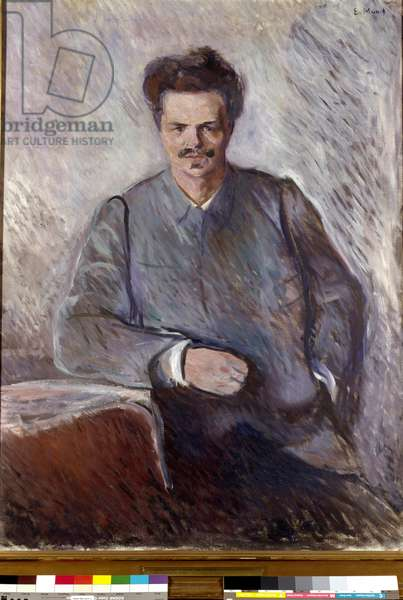 August Strindberg Portrait of the Swedish playwright and painter August Strindberg (1849-1912). Painting by Edvard Munch (1863-1944), 1892. Dim. 120x90 cm Moderna Museet, Stockholm, Sweden