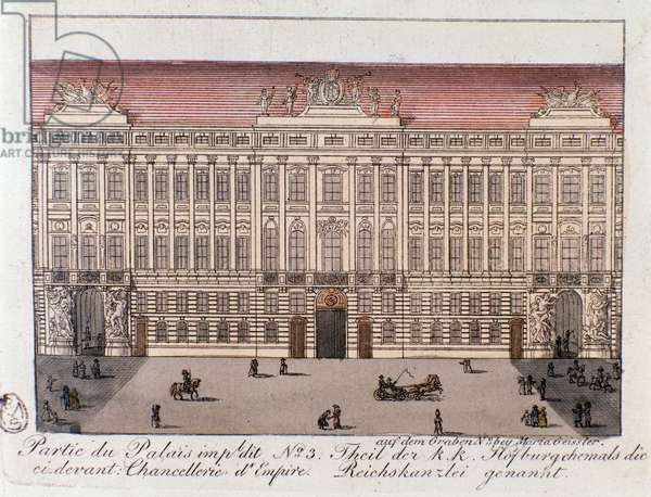 View of the part of the Imperial Palace named the Chancery of Empire in Vienna. Austria. Engraving from 1815 Private Collection