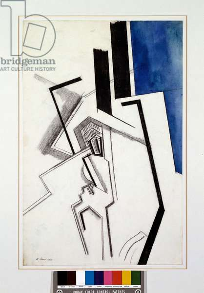 Composition in blue (Pen drawing and watercolour, 1915)
