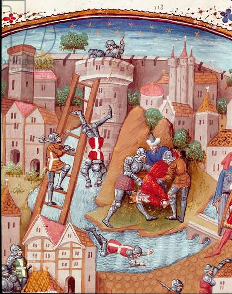 """Conquete of a fortified town Detail. Miniature taken from """""""" Des cas des nobles hommes et femmes infortunes"""""""" (De casibus) by Giovanni Boccaccio dit Jean Boccace (1313-1375), Italian writer, translated by Laurent de Premierfait and enluminated by the master of Dunois (15th century) 1465 Chantilly, Musee Conde"""