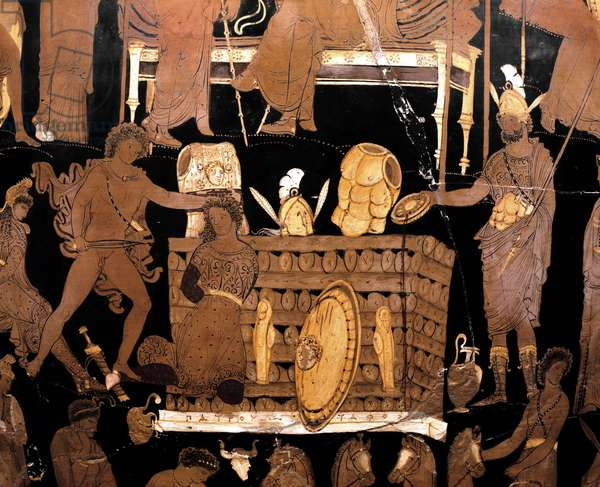 Greek art: black crater with red figures depicting scenes from the Trojan War: Achilles burns Patrocles on a butcher after cutting his hair. Made by the painter of Darius. From Canosa. 340-330 BC. Museo Archeologico Nazionale, Naples