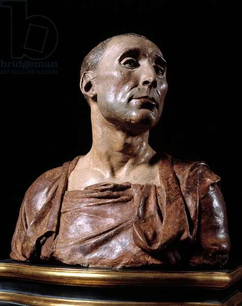 """Bust portrait of the condottiere (condottiero) Niccolo da Uzzano (1359-1431)"""""""" Terracotta sculpture by Donato de 'Bardi dit Donatello (1386-1466), 1430 Musee du bargello, Florence"""