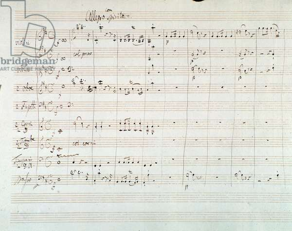 Page of musical score of  Symphony N. 8 in D major,  by Mozart (1768)