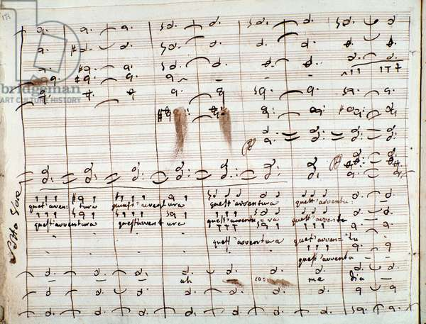 Musical Score for the 'Quest'avventura' aria, in the 'The Barber of Seville' (ink on paper)