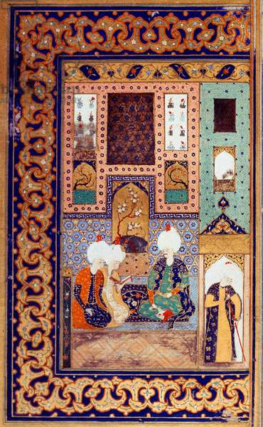 """Ottoman Empire: representation of Sultan Selim I called the Terrible (1470-1520) accompanies two of his subjects. Miniature taken from the """""""" Divan"""" (poem recuperation) written by Sultan Selim I. (Ms. FY1330, fol. 28a) 16th century. Istanbul, University Library"""
