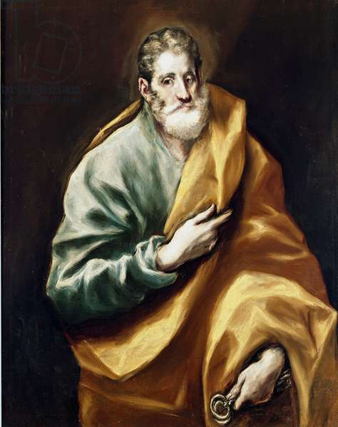 The Apotre Saint Peter. Painting by Domenikos Theotokopoulos dit El Greco (1540-1614), 1610-1614. Oil on canvas. Dim: 97x77cm. House and Musee El Greco, Toledo, Spain.
