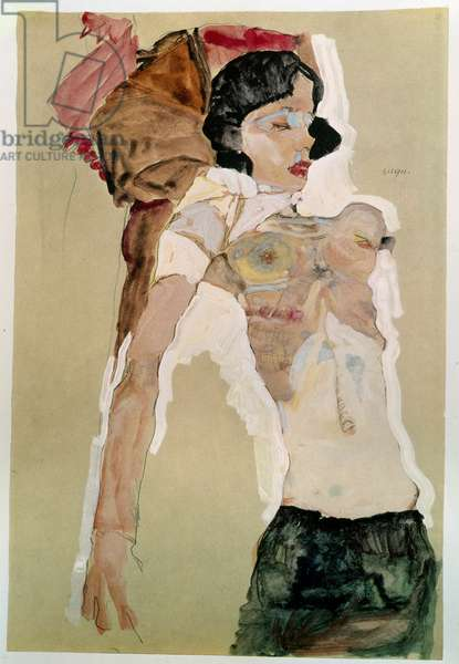 Half naked female. Drawing by Egon Schiele (1890-1918), 1911 Pencil and watercolor on paper. Dim: 45,9x31,1cm. Vienna, Graphische Sammlung Albertina
