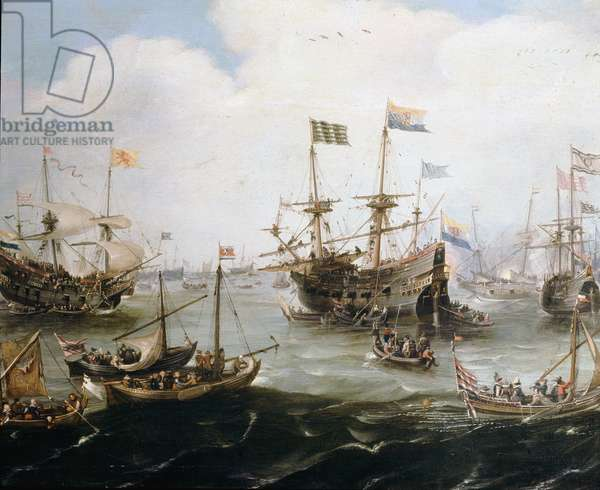Arrival in the port of Amsterdam of four ships of the Dutch company of East Indies 01/05/1599 Painting by Andries Van Veertvelt (1590-1652) Greenwich, National Maritime Museum