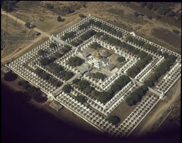 Buddhism: aerian view of all Buddhist stupas in Kuthodaw Pagoda. Mandalay Burma