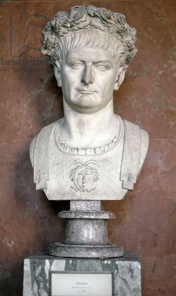 Bust of Emperor Trajan with a wreath of laurels and Medusa on the torso (Marble sculpture, 98-117)