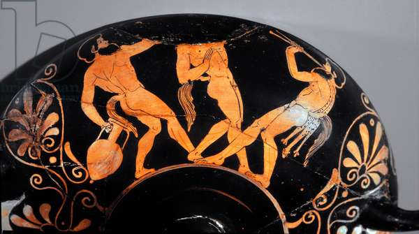 Etruscan art: Kylix decorates a komos, ritual cortege of satyres (first example of etruscan ceramic with red figures using relief lines). 380 BC. From Vulci (?) Paris, Musee Rodin