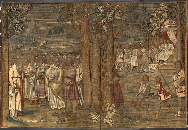 Moise establishing the Justice Tapestry by Dionys Martensz after the cartons of Luca Cambiaso (1527-1584) and made in the manufactures of Brussels 1561-1564 Dim. 392,5x220,5 cm Genes, Musei di Strada Nuova