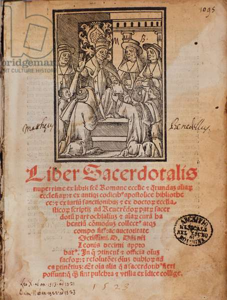 "Pope Leon X receives the book Frontispice of the liturgy book ""Liber Sacerdotalis"""" by Castellini, 1523 - Bologna, civico museo musicale"