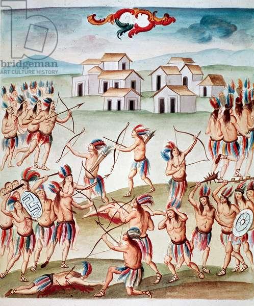 "Battle scene, ambushes in Acolman, Mexico Watercolour from """" Teatro de la Nueva Espana"""" by Diego Garcia Panes (1730-1811) ca. 1770-1780 Folio 28 Mexico City, National Library"