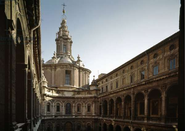 View of the Church of Saint Yves of Wisdom (Chiesa di Sant'Ivo alla Sapienza) in the Palazzo della Sapienza in Rome, Italian religious architecture of Baroque style, built between 1642 and 1660 by Francesco Borromini (1599-1667), on the site of the chapel of the Univerite of Rome, the Sapienza (Church of st Ivo alla Sapienza Sapienza Sapienza built by Francesco Borromini), built by Francesco Borromini, 1642-1660, Rome, Italy)
