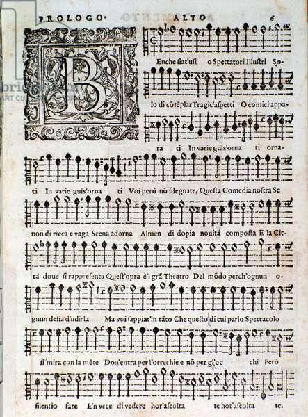 Page from Amfiparnaso madrigal comedy by Orazio Vecchi, 1597