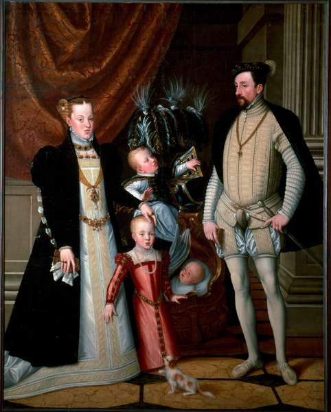 Emperor Maximilian II (1527-1576) with his family: Mary of Spain (1528-1603), and their children Anne (1549-1580), Rodolph (1552-1612) and Ernest (1553-1591) Painting by Giuseppe Arcimboldi (or Arcimboldo) (1527-1593) 1553 Sun. 188x240 cm Ambras Castle, Innsbruck, Austria