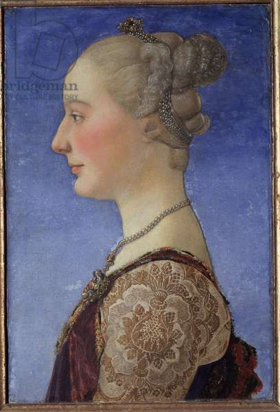 Portrait of a lady (Portrait of a lady) Woman of the aristocracy, in profile, she wears pearls around her neck and in her hair - Painting by Antonio Pollaiolo (Pollaiuolo or Benci) (ca. 1431-1498) 1471 Dim 55x34 cm Florence, Galleria degli Uffizi (Offices)
