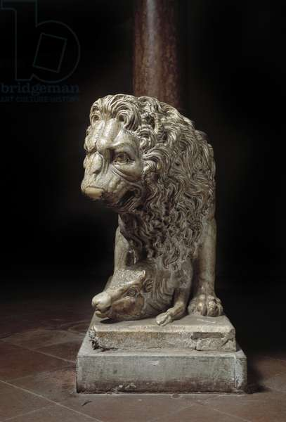 View of one of the lions supporting the pulpit made by Fra Guglielmo da Pisa (1235 ca-1310/11) (Lion of the pulpit by Fra Guglielmo da Pisa) around 1270 Pistoia, San Giovanni Fuorcivitas Italy