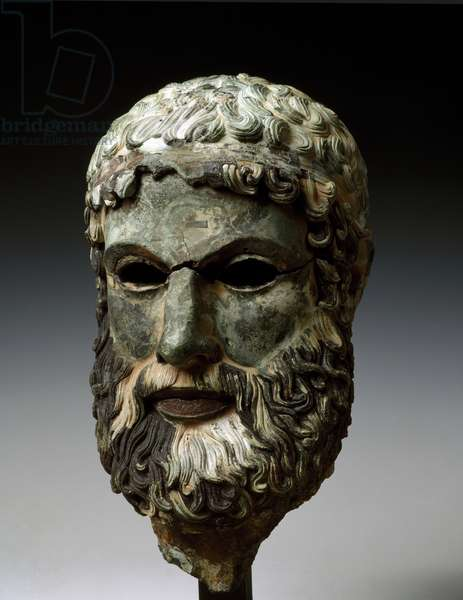 Head of a bearded male, from Porticello
