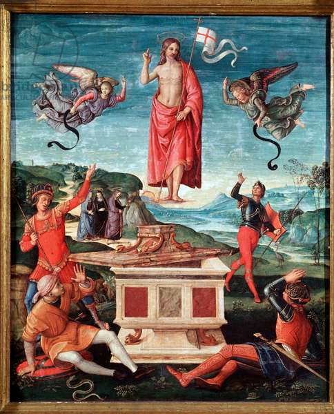 The resurrection (The resurrection of christ) Jesus Christ has a stick cross at the end of which floats a white flag (standard) strikes with a red cross - Painting by Raffaello Sanzio dit Raphael (1483-1520) 1501-1502 Dim 52x44 cm Sao Paulo, Museu de Arte Brazil