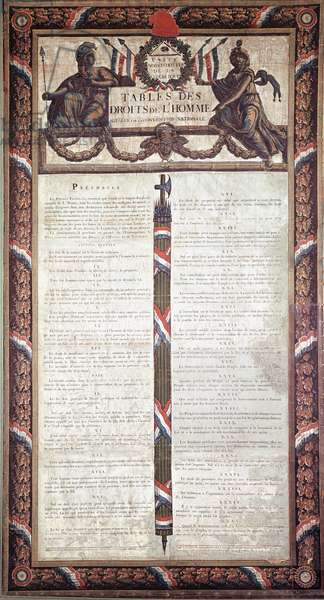 "French Revolution: """" Declaration of Human and Citizen Rights"""" Lithography. 18th century Musee Carnavalet, Paris"