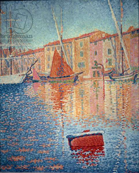 """La buee rouge (Saint Tropez), Painting by Paul Signac (1863-1935), 1895, Dim: 0,81 x 0,65 m Paris, Musee d'Orsay - """""""" The Red Buoy"""""""" (Saint Tropez), 1895, Oil on canvas by Paul Signac (1863-1935), Dim: 0,81 x 0,65 m Paris, Musee d'Orsay"""