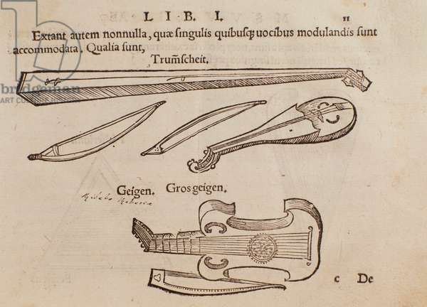Representation of string instruments and archer. Page taken from Musurgia practical manual of music, 1536