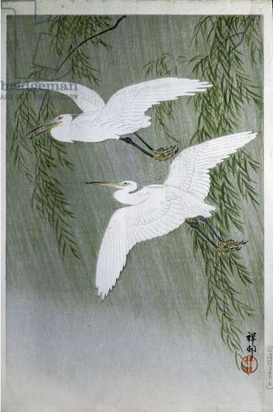 Two herons Flying Free, 1907 (colour woodcut)