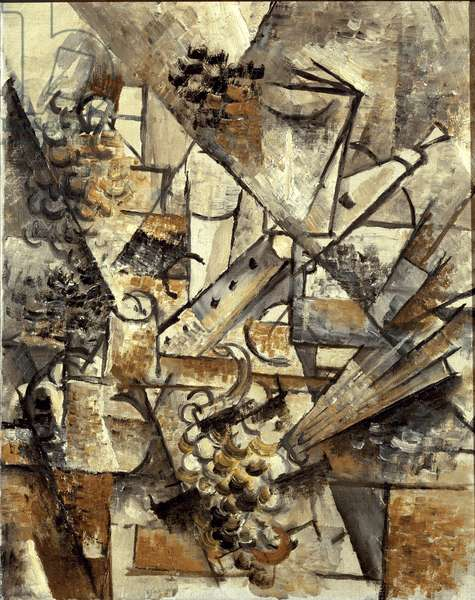 Still life with clarinet, grape bunch and fan (oil on canvas, 1911)
