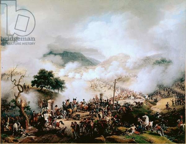 """Napoleonic Wars (War of Spain): """""""" the Battle of Somosierra, the 30/11/1808"""""""" Painting by Louis Francois Lejeune (1778-1848) 1810 Versailles, museum of the castle"""