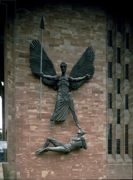 The Archangel Michael Triumphant over Satan Sculpture by Jacob Epstein (1880-1959) New Cathedral (Cathedrale) by Coventry England DR