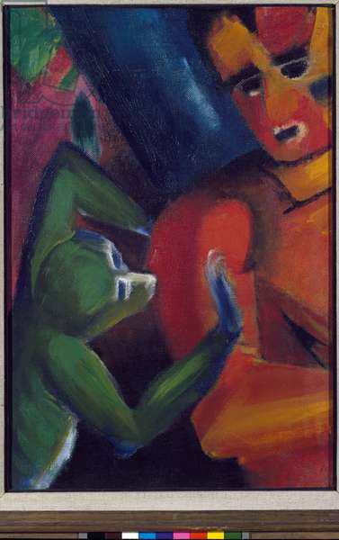A Man and a Little Monkey (Affchen und Mensch, man and monkey) Painting by Franz Marc (1880-1916) 1912 Sun 52,5x35.5 cm Munich Stadt Gallery in Lenbachhaus