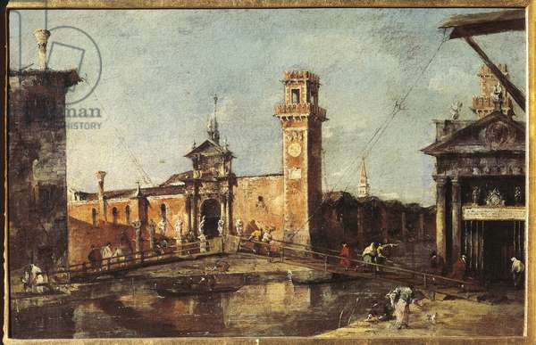 View of the arsenal in Venice Painting by Francesco Guardi (1712-1793), about 1780. Dim. 29,5x45 cm Vienna, Kunsthistorisches Museum