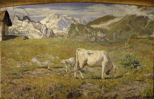 Prairie in Spring (Pastures in spring) Painting by Giovanni Segantini (1858-1899), 1896 Oil On Canvas Pinacoteca di Brera, Milan