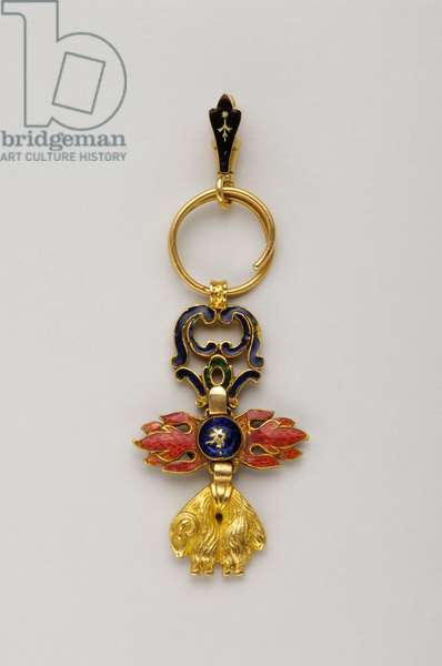 Order of the Golden Fleece: Spanish Golden Fleece - Miniature of insignia belonging to Joao VI of Bragance (John VI known as the Clement) (1767-1826), King of Portugal (1816-1826) - End of the 18th century - Gold and emals - H. 3,8 cm; l. 2 cm; weight: 10 g - Private collection