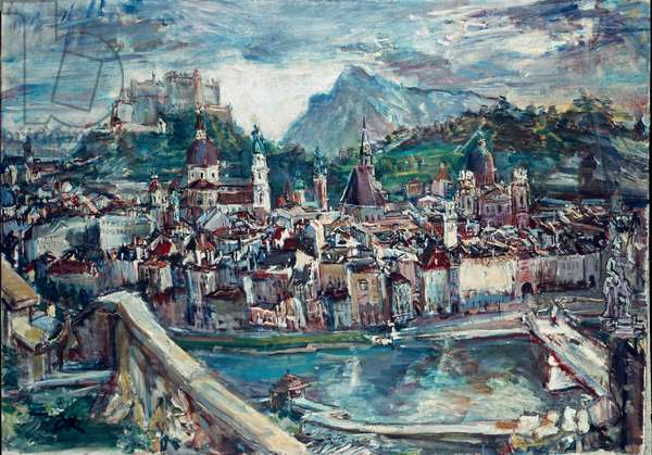 View of Salzburg (Salzburg). Painting by Oskar Kokoschka (1886-1980), 1950. Munich. State Gallery of Modern Art