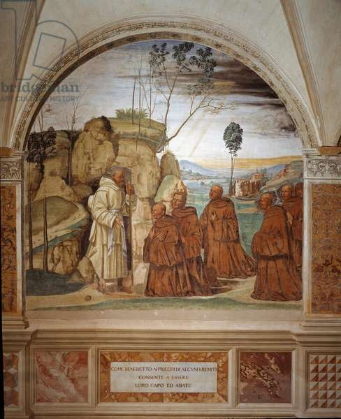 How Benedict answers to the prayer of the hermits and agrees to be their leader Fresco of the cloitre realised by Antonio Bazzi dit il Sodoma (1477 - 1549) recounting the life of Saint Benedict of Nursie (480 - 567) founder of the Order of Benedictine 1503 - 1508 Abbey of Monte Oliveto Maggiore, Florence ©Luisa Ricciarini/Leemage