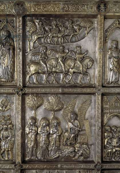 Silver Altar of Saint James the Major (Altare argenteo di San Jacopo or Silvered altar of St James) Detail of the antependium decore of episodes of the New Testament (The Journey of the Magi and Holy Maries to the Sepulchre) realized by Andrea di Jacopo d'Ognabene (1316) (Front section with stories of new testament, travel of the magi and pious women) 1287 -1456 Chapel of the Crucifix, Cathedrale San Zeno (Duomo) of Pistoia Italy