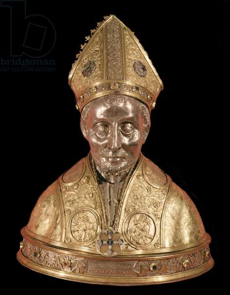 Reliquary bust of Ignatius of Antioch (circa 35-110) (Reliquary bust of Ignatius of Antioch) Gold copper sculpture attributed to Antonio di Salvi, Tuscan school of the 15th century Florence, Museo Nazionale del Bargello, n Inv 4 OR