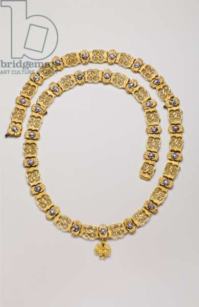 Order of the Golden Fleece: necklace belonging to Joao VI of Bragance (John VI of Portugal known as the Clement) (1767-1826) - XVII century - Bavings - Gold and Emaux - Necklace: L 116 cm; Weight: 500 g (including pendant) - Pendant: H 2.8 cm; W 2.4 cm - Private collection