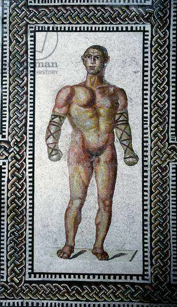 """Roman art: """""""" gladiator 'pavement mosaic from the Baths of Caracalla. 212 AD Rome, Museo Nazionale Romano (o delle Terme) - Roman art: gladiator. Floor mosaic from the Baths of Caracalla. 212 AD. Rome, Museo Nazionale Romano (o delle Terme)"""