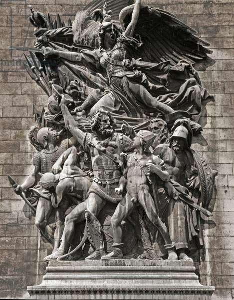 "Depart of the Volunteers of 1792 or """" La Marseillaise"""". Sculpture by Francois Rude (1784 - 1855), 1833-1836. Stone relief on the Arc de Triomphe of Paris, Place de l'Etoile"