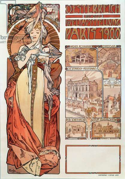 "Advertising poster by Alphonse Mucha (1860-1939) for Austria represented at the Universal Exhibition in Paris 1900 - Dim 68x98,5 cm Advertising poster by Alphonse Mucha for """" Austria"""" at the Exposition Universelle in Paris, 1900 (world's fair) - Private collection"
