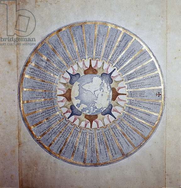 Rose des Vents Au centre l'hemisphere occidental et les 32 points representant les vents. Miniature de 1650. Greenwich, National Maritime Museum