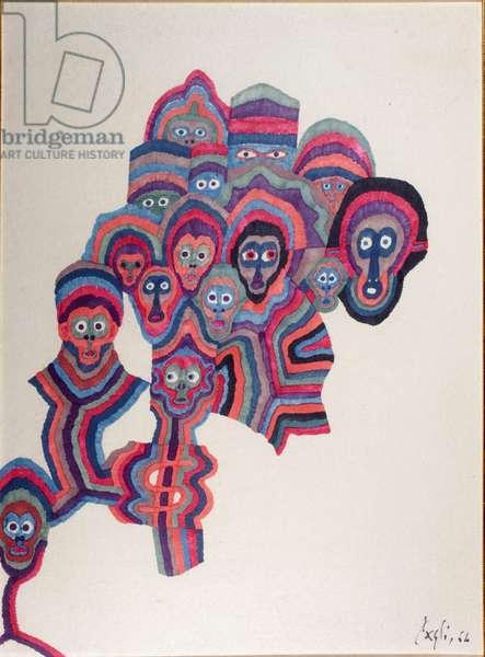 Parent, 1964 (coloured ink on canvas paper)