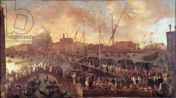Procession on the Day of the Feast of the Redeemer A temporary bridge is built to the Church of the Redeemer of Venice to commemorate the victims of the Great Plague of 1575-1576 - Painting by Joseph Heintz the Young (1600-1678) 17th century - Musei Civici Veneziani, Museo Correr Venice