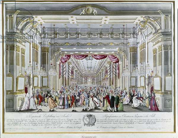 Representation of La Clemenza di Tito by Mozart at the coronation feast of Emperor Leopold II of Austria as king of Boheme in 1791 (engraving)