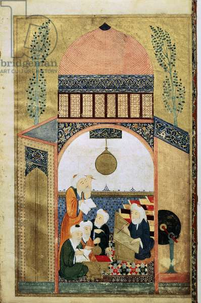 A Lecture on Astronomy, Four Scientists with their Master, c.1418 (ink & gold on vellum)
