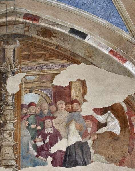 Representation of St. Catherine of Siena in front of Pope Gregoire XI a Avignon Fresco by Giovanni Donato da Montorfano (1460-1502) Bezel of the Bolla chapel, left nave (st Catherine of Siena in front of pope Gregory XI in Avignon) Frescoe by Giovanni Donato da Montorfano (1460-1502), left nave) Milan, left nave) Milan, Basilica di Santa Maria delle Grazie Italy